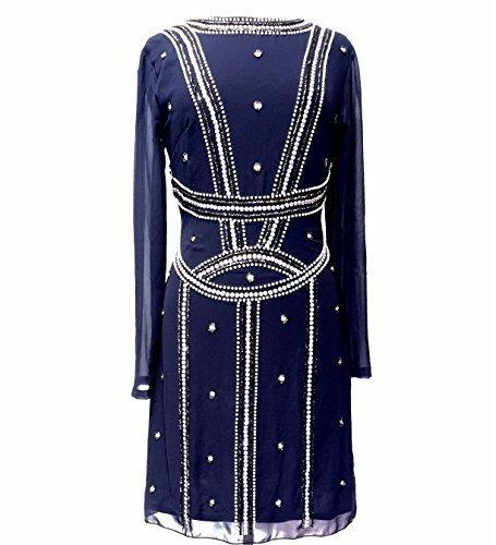 Damen 1920er Vintage Stil Charleston-mädchen Gatsby Abbey Fransen Wulstig  Paillette Schiftkleid Blau