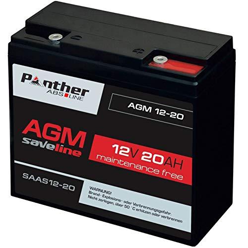 Panther Akku AGM 20Ah 12V Bleiakku USV Batterie statt 17Ah 18Ah 19Ah 21Ah Gel