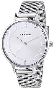 Skagen - Reloj de cuarzo para mujer, correa de acero inoxidable color plateado de Skagen