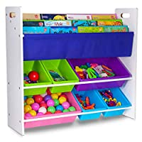 Fineway.... Children 3 Tier Sling Book Shelves Bookcase Rack + 2 Tier 6 Tub Toys Storage Container Boxes Organiser
