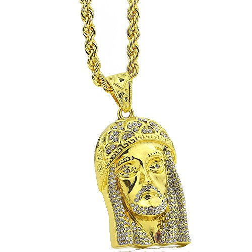 Hip Hop Jesus Head Gold Jesus Piece Pendant Crystal Iced Out Necklaces Men's Bling Jewelry