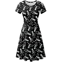 For G and PL Halloween Women Swing A-Line Skull Casual Party Short Sleeve Tunic Dress Skeletons XXL