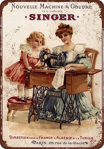 qidushop 1889 Französischer Sänger Nähmaschinen Vintage Reproduktion Neuheit Aluminium Metall Blechschild Post Wanddekoration für Herren 20 x 30 cm