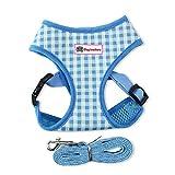 Yonfan Hundegeschirr mit Leine Soft Air Mesh Verstellbar Hund Brustgeschirr Weich für Hunde, Welpen, Katzen, Haustiere Wandern Blau Plaid Kleine