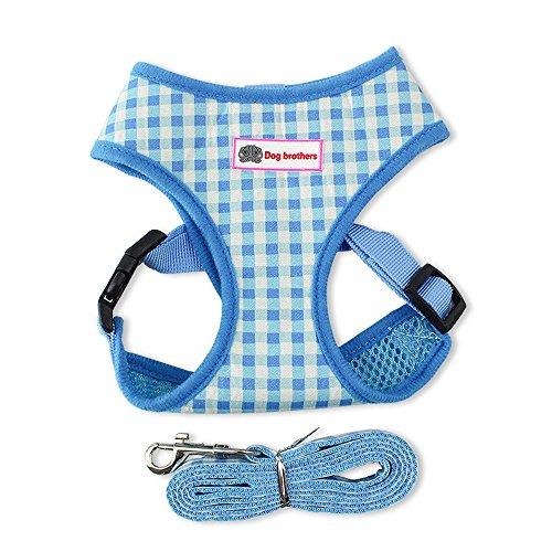 Yonfan Hundegeschirr mit Leine Soft Air Mesh Verstellbar Hund Brustgeschirr Weich für Hunde, Welpen, Katzen, Haustiere Wandern Blau Plaid Mittelgroße