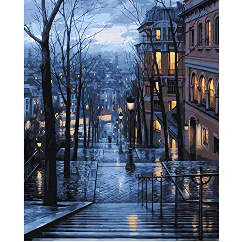 In Der Stadt Beleuchtung Treppen Winter Landschaft Acryl Leinwand Kunst Foto Färbung Durch Zahlen Home Dekoration-With Frame ()