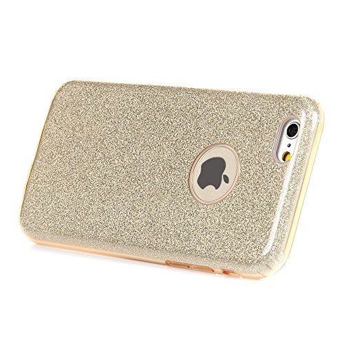 Badalink Bling Bling iphone 6 Plus/6s Plus Hülle Schutzhülle Bunt Bling Bling Strass Glitzer TPU Hybrid Schutzhülle für iphone 6 Plus/6s Plus - Rosa Style Cover Handyhülle Schale Tyrant Gold