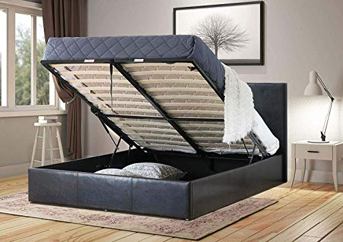 Home Treats Black Ottoman Bed Frame with Lift Up Storage, 4 Sizes Available (Kingsize 5ft)