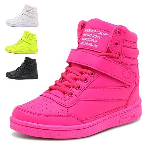 happygo! Damen Keilabsatz Sneakers Wedges Keilabsatz 24cm High Top Sneakers Stiefel Knöchel Klettverschluss Schwarz (High Top Sneaker Stiefel)