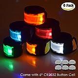 Senhai LED braccialetti slap polso luce per Running Walking Equitazione, confezione da 6 bracciali Glow Bracciali Snap, 6 colori diversi