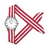 elegante polso strisce bianche cinturino in panno rosso orologi fresco Bella studenti personalità orologi per le signore