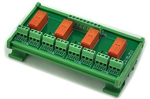 Electronics-Salon Montage sur rail DIN Passif bistable / à verrouillage 4 Module de relais de puissance DPDT 8A, 24V Ver.