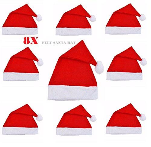 8X Adult Red Felt Christmas Santa Hat Xmas Ladies Men's Unisex Fancy Dress Accessory