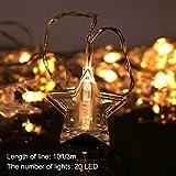 LED Foto Clips String Lights Star - 20 Foto Fairy String Lights Indoor Picture Lights Batteriebetrieben Hochzeit, Schlafzimmer Dekorationen Hängende Weihnachtskarten Notizen [Energieklasse A +++]