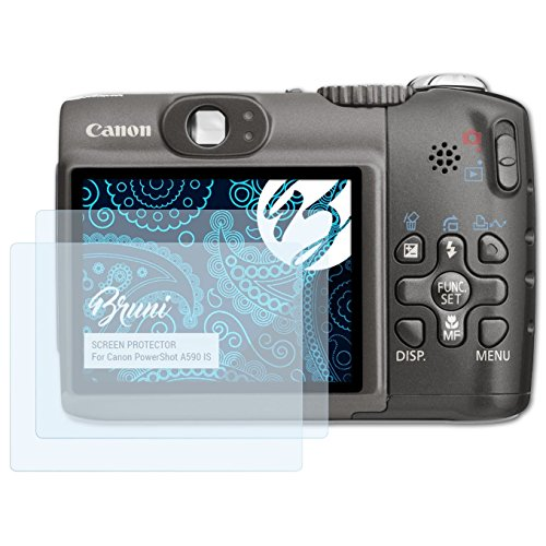 Bruni Schutzfolie kompatibel mit Canon PowerShot A590 is Folie, glasklare Displayschutzfolie (2X) Canon Powershot A590 Is