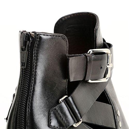 ALESYA by Scarpe&Scarpe - Stiefeletten mit seitlicher Öffnung, Leder, mit Absätzen 8 cm Schwarz