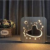 LED Nachtlicht 3D Lampe Stimmungslicht Kreativ U-Boot Stereo Lichter Holzkunst Skulptu Tischleuchte Tischlampen/USB Power Light +Datenleitung Wechseln