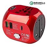 Milool Reiseadapter mit QC3.0 Schnellladung Typ C und 2 USB (US/EU/UK/AU) 30W All-In-One Reiseladegerät für über 150 Länder, 2 Sicherungen (Rot)