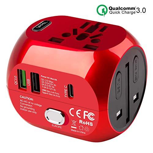 Milool Reiseadapter mit QC3.0, Reiseadapter Weltweit Reisestecker Typ C+ 2 USB (US/EU/UK/AU)...