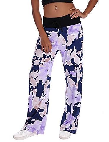 Pantalons femme tailles elastiques Grande taille floral imprimé pantalons jambe largePantalon de Sport jogging yoga Décontracté Amincissant Confortable Mode Casual pantalon de pyjama Pant