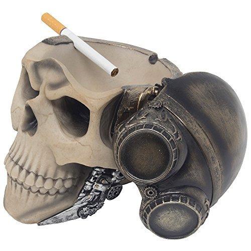 Rojo Baron Fighter Pilot calavera cenicero o Candy cuenco en estilo steampunk para Spooky Halloween decoraciones y Bar o gótico decoración de sala de fumadores en decorativo macabro arte regalos para los fumadores