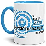 Tassendruck Berufe-TasseSo Sieht der Beste Physiotherapeut aus Innen & Henkel Hellblau/Job/Tasse mit Spruch/Kollegen/Arbeit/Fun/Mug/Cup/Geschenk Qualität - 25 Jahre Erfahrung
