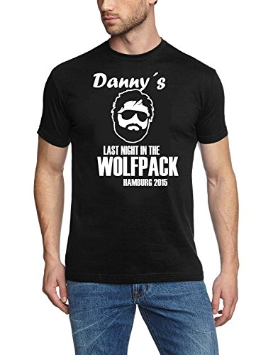 Personalisierte Vier (WOLFPACK mit euren Namen und Rückennummer Junggesellenabschied personalisiert T-Shirt Herren Schwarz Gr.4XL)