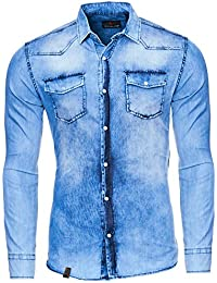4104dd4a42e0 Reslad Jeanshemd Herren Slim Fit Vintage Denim-Hemd Used Waschung Blau    Freizeithemd Blaue Hemden