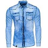 Reslad Jeanshemd Männer Slim Fit Vintage Herren Denim-Hemd Waschung Blau | Freizeithemd Blaue Denim Hemden RS-7109 Blau 2XL