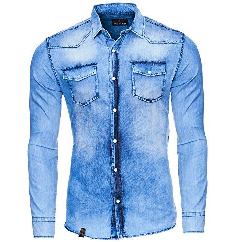 Reslad Herren Vintage Used Look Jeanshemd Langarm Hemd RS-7109 Blau XL (- Jeans-langarm-hemd)