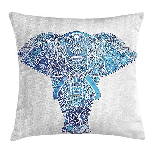 Pads bag Funda de cojín con diseño de Mandala de Elefante, Inspirado en el océano, con Imagen de Animal Sagrado Indio, Decorativa, Cuadrada, 45 cm x 45 cm, Color Azul Claro y Turquesa