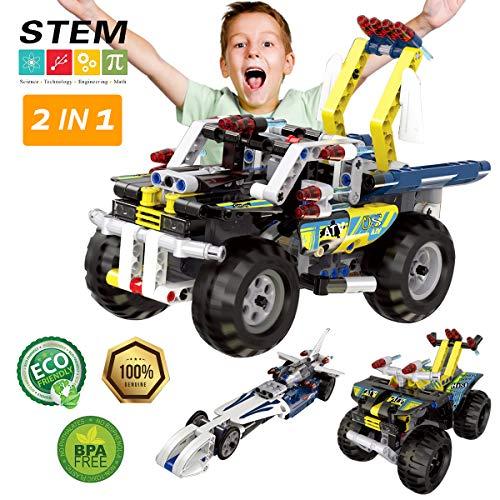 Maxxrace Bausteine Spielzeug, STEM Gebäude Auto Spielzeug, Engineering Fahrzeuge und Rennwagen Bausteine, 2 in 1 Auto, Spielzeug für Kinder und Jungen/ Mädchen