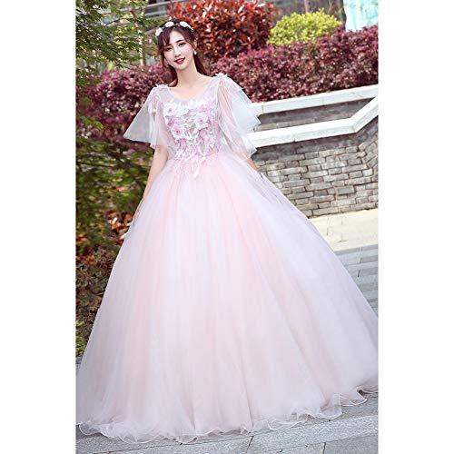 val Fairy Light Rosa Stickerei Gericht Mittelalterlichen Kleid Renaissance-Kleid Königin Viktorianischen/Marie/Belle Ball/Ballkleid ()