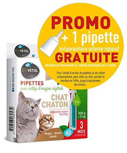 Biovetol - Offre Speciale - Pipettes Anti-Puce pour Chaton et Chat (500g à 5kg) - 3x1ml + 1 Offerte