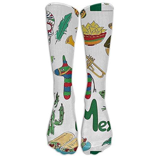 Fun Colorful Sketch Mexico Chili Pyramid Nachos Cactus Music Poncho Knee High Graduated Compression Socks
