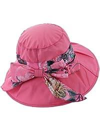 af26f3d19cf8e AXROAD MALL Sombrero de Verano para Damas Puro Estampado de algodón  Plegable Sombrero para el Sol Bowknot Gorro Ancho…