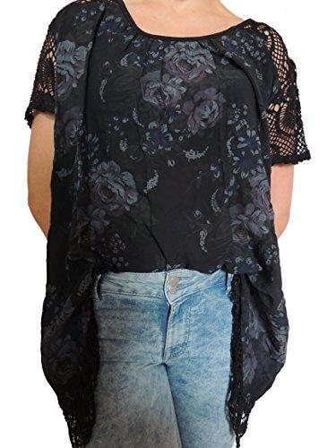 11 verschiedene Farben Damen Blusen Shirt mit Blumenmuster Gr. 46 48 50 52 (Schwarz)