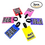 SwirlColor PVC Luggage Tags Funny Words Suitcase Luggage Tags Random Delivery - 3 Pc