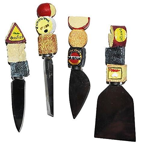 2 Stück _ 3-D Käsemesser - Edelstahl mit Käse Griff aus Kunstharz - Buffet - kleine Messer für Käse - Parmesanmesser - Design Italien -