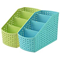 Kuber Industries compact storage basket is made of plastic material so this is very durable, long-lasting. This contain 4 sections which can hold many useful accessories like pen, pencil, scissors, spoon, fork, knife and all toiletry products. This b...