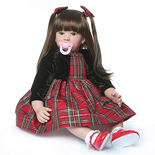 Binxing Toys Reborn Toddler Doll, 24 inches 60cm Realistic Gray Girl, Brown Wig Hair and Colorful Dress, Xmas Gift for Girl (1) - Black Velvet Baby Doll