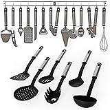TecTake® Küchenbesteck Küchenhelfer Hängeleiste Küchenutensilien Kochzubehör Set 19teilig