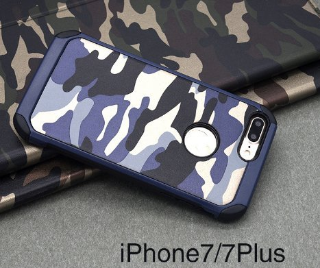 iPhone 7 Plus Hülle,iPhone 7 Plus Camo Hülle Defender Shockproof Drop proof High Impact Rüstung Plastic und Leder TPU Hybrid Rugged Camouflage HandyHülle Schutz Cover Hülle für Apple iPhone 7 Plus (5. Blau 2