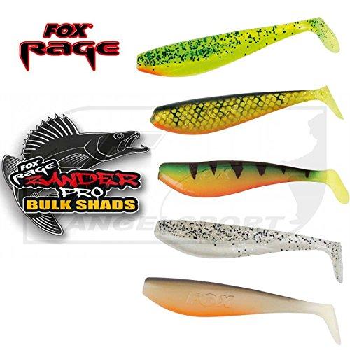 Fox Rage Zander Pro Shads Mixed Colour, 5 verschiedene Farben im Set, Gummifische, Gummiköder für Zander, Hechtköder, Zanderköder, Barschköder, Forellenköder, Länge:14cm