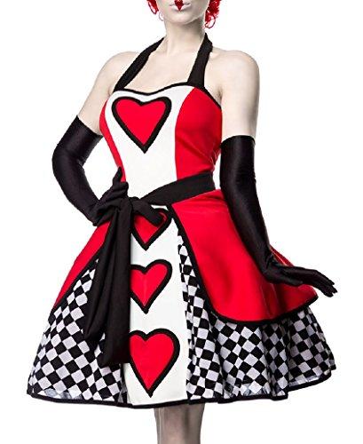 Queen Muster Kostüm Red (Damen Red Queen Kleid Kostüm Verkleidung mit Kleid, Überrock, Handschuhe aus mit Herz Muster Satin)