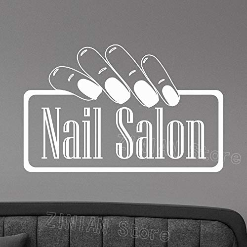 guijiumai Nagelstudio Logo Wandtattoo Vinyl Fenster Aufkleber Maniküre Mode Kunst Dekoration Für Office Spa Beauty Friseursalon Raumdekor Rosa 132x84 cm (Jacke Friseursalon)
