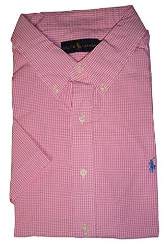 Polo Ralph Lauren pour homme à manches courtes Rose Bouton Down pour Homme Motif à carreaux