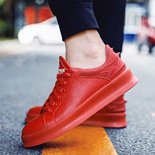 Uomo Moda Spessore inferiore Scarpe sportive Antiscivolo Scarpe da corsa traspirante formatori Aumenta le scarpe Scarpe da diporto euro DIMENSIONE 39-44 Red