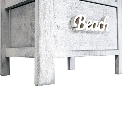 Rebecca srl Mobiletto Comodino legno Bianco Grigio Shabby Stile Vintage Camera Bagno (Cod. RE4555) - 7