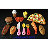 Shanaya Toys 14 Pcs Realistic Sliceable Cutting Fast Food Kitchen Set Toy With Various Items Like Pizza, Burger, Prawn, Crab & Many More, Knife, Spoon, Fork For Kids,Multi Color.